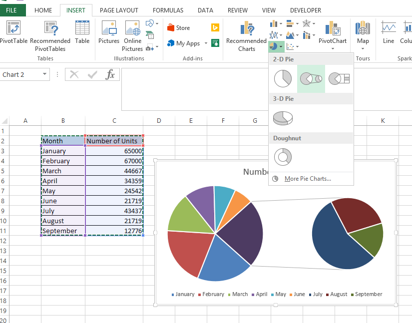 pie of pie chart in excel 1