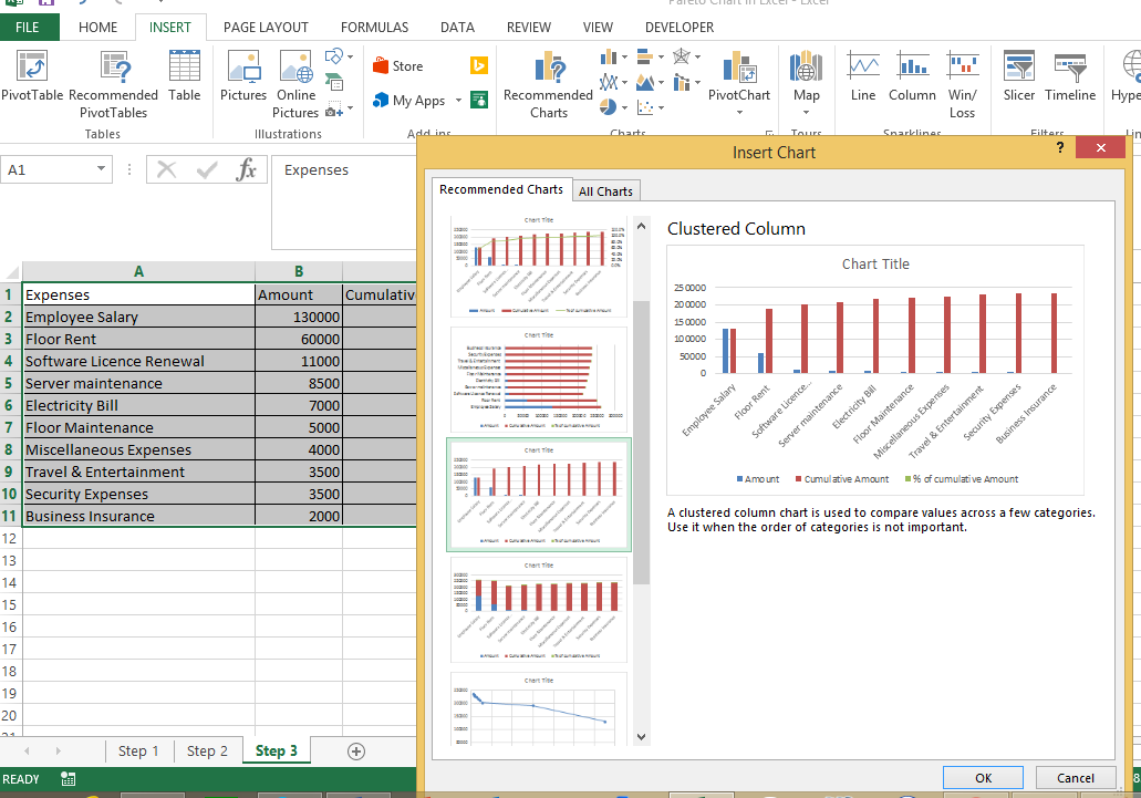 How To Create Pareto Chart In Excel Datascience Made Simple