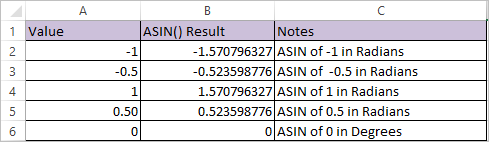 ASIN Function in Excel 2
