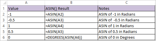 ASIN Function in Excel 1