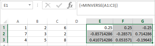 MINVERSE Function in Excel 3