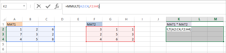 MMULT Function in Excel 2