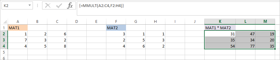 MMULT Function in Excel 3