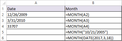MONTH Function in Excel 1