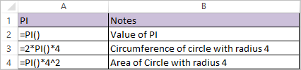 pi function in excel 1