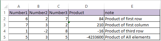 PRODUCT Function in Excel 2