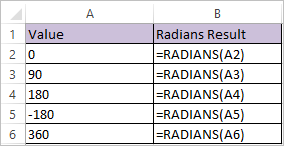 RADIANS Function in Excel 1
