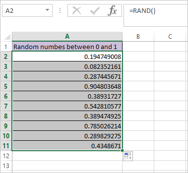 RAND Function in Excel 4