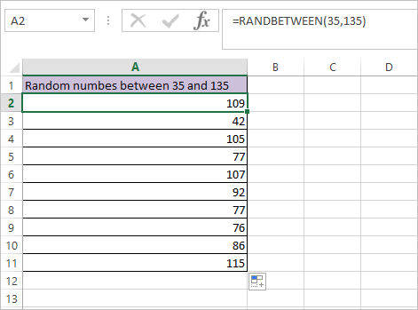 RAND Function in Excel 7