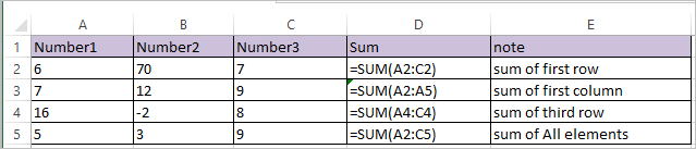 SUM Function in Excel 1