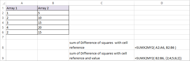 SUMX2MY2 Function in Excel 2