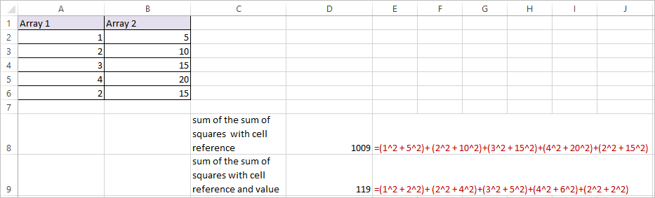 SUMX2PY2 Function in Excel 3