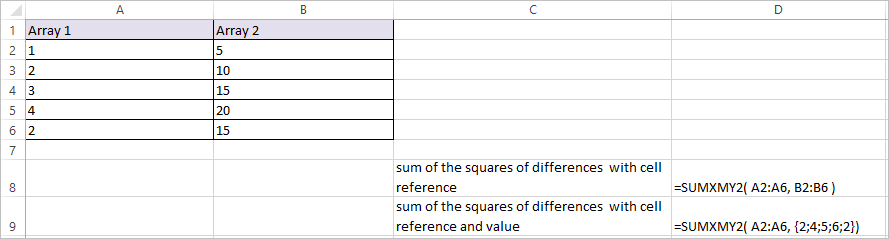 SUMXMY2 Function in Excel 2