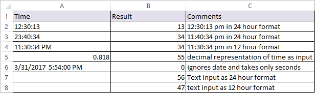 SECOND Function in Excel 2