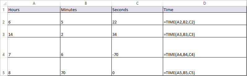 time function in excel 1