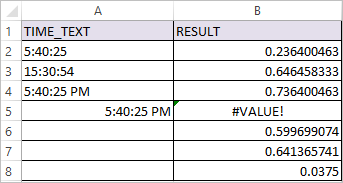 TIMEVALUE Function in Excel 2