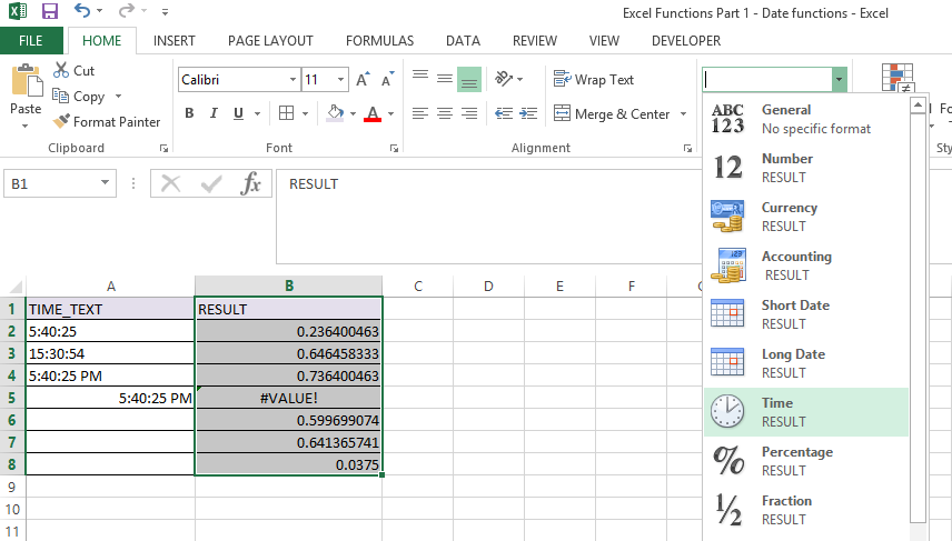 TIMEVALUE Function in Excel 3