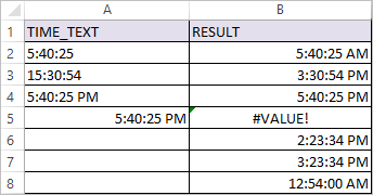 TIMEVALUE Function in Excel 4