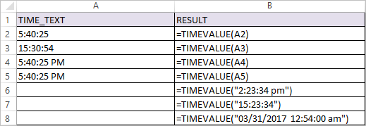 TIMEVALUE Function in Excel 1