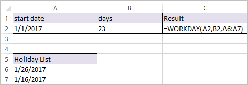WORKDAY Function in Excel 3