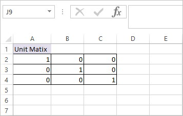 MUNIT Function in Excel 3