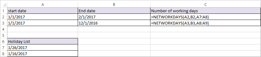NETWORKDAYS Function in Excel 3