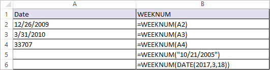 weeknum Function in excel 1