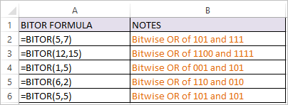 BITOR Function in Excel 1