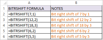 BITRSHIFT Function in Excel 1