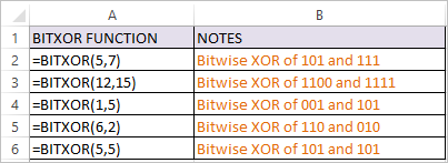 BITXOR Function in Excel 1