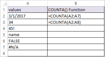 COUNTA Function in Excel 1