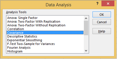 Create Covariance matrix in Excel or covariance table in