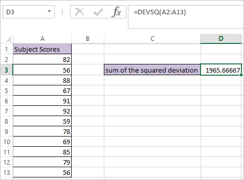 DEVSQ Function in Excel 1