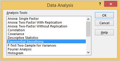 Exponential smoothing in Excel 4