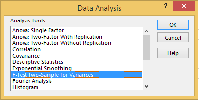 F Test in Excel 3