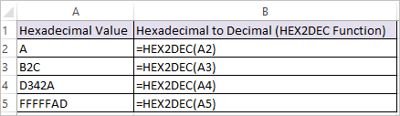 HEX2DEC Function in Excel 1