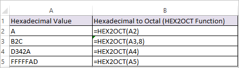 HEX2OCT Function in Excel 1