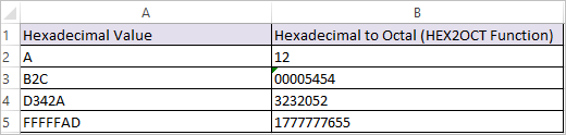 HEX2OCT Function in Excel 2