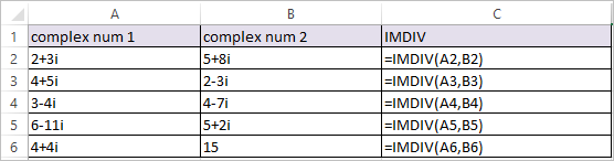 IMDIV Function in Excel 1