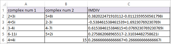 IMDIV Function in Excel 2