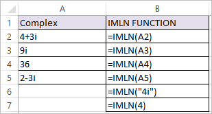IMLN Function in Excel 1