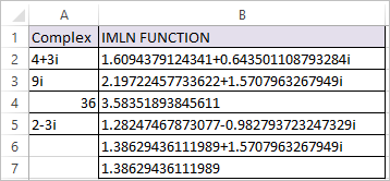 IMLN Function in Excel 2