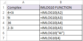 IMLOG10 Function in Excel 2