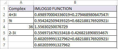 IMLOG10 Function in Excel 3