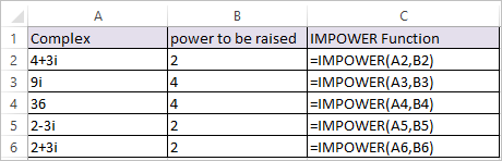 IMPOWER Function in Excel 1