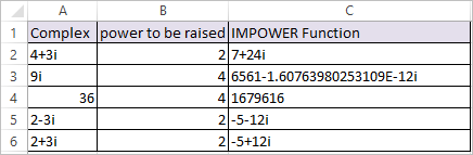 IMPOWER Function in Excel 2