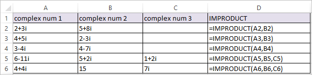 IMPRODUCT Function in Excel 1