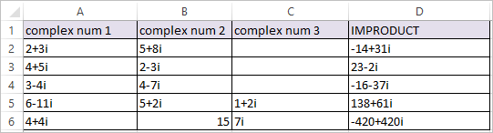 IMPRODUCT Function in Excel 2