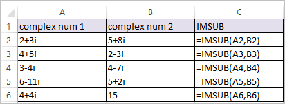 IMSUB Function in Excel 1