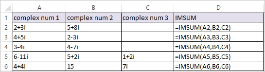 IMSUM Function in Excel 1